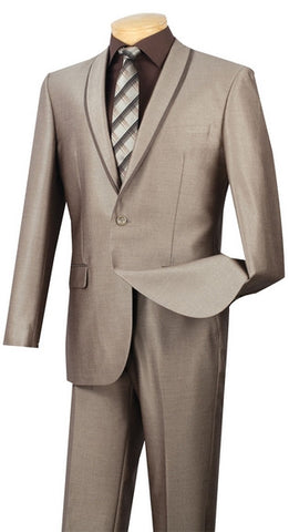 Vinci Men Suit SSH-1-Beige - Church Suits For Less