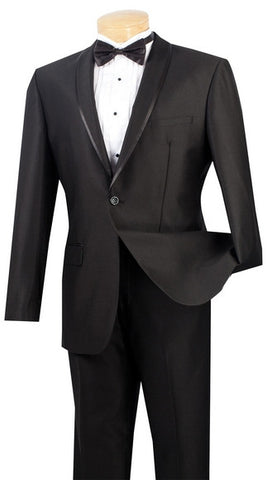 Vinci Men Suit SSH-1-Black - Church Suits For Less