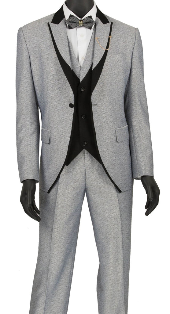 Vinci Men Suit SV2R-5-Silver/Black - Church Suits For Less