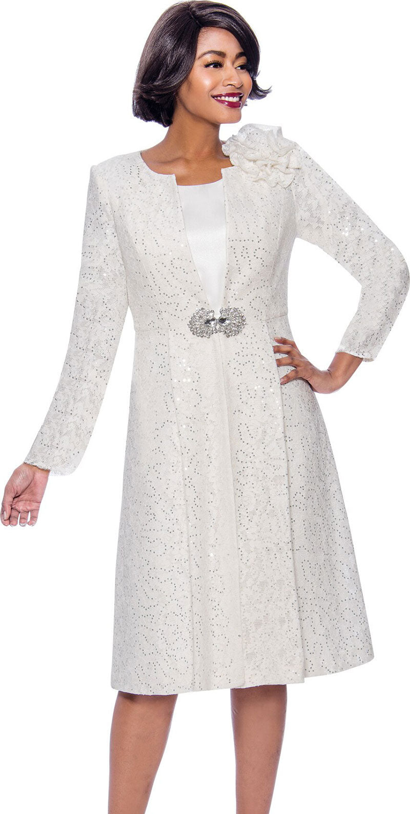 Susanna Dress 3948-White - Church Suits For Less