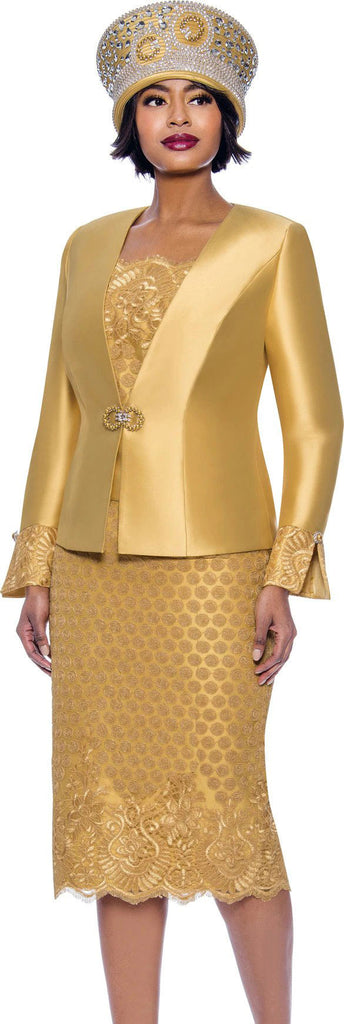Susanna Suit 3941-Gold - Church Suits For Less