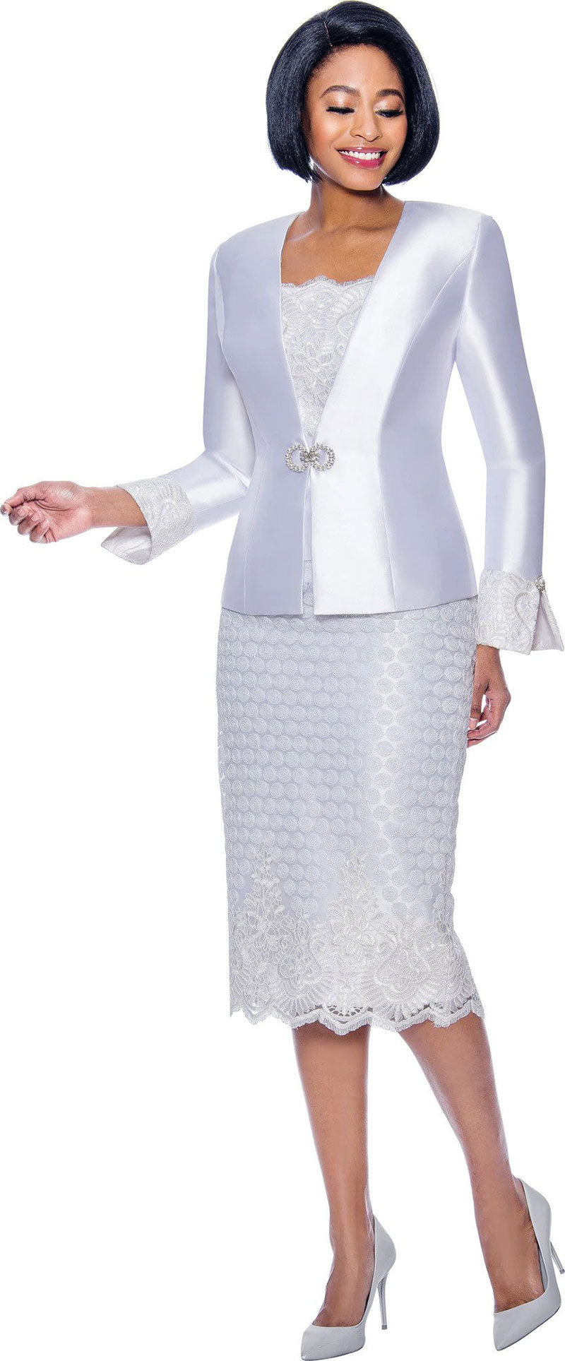 Susanna Suit 3941-White - Church Suits For Less
