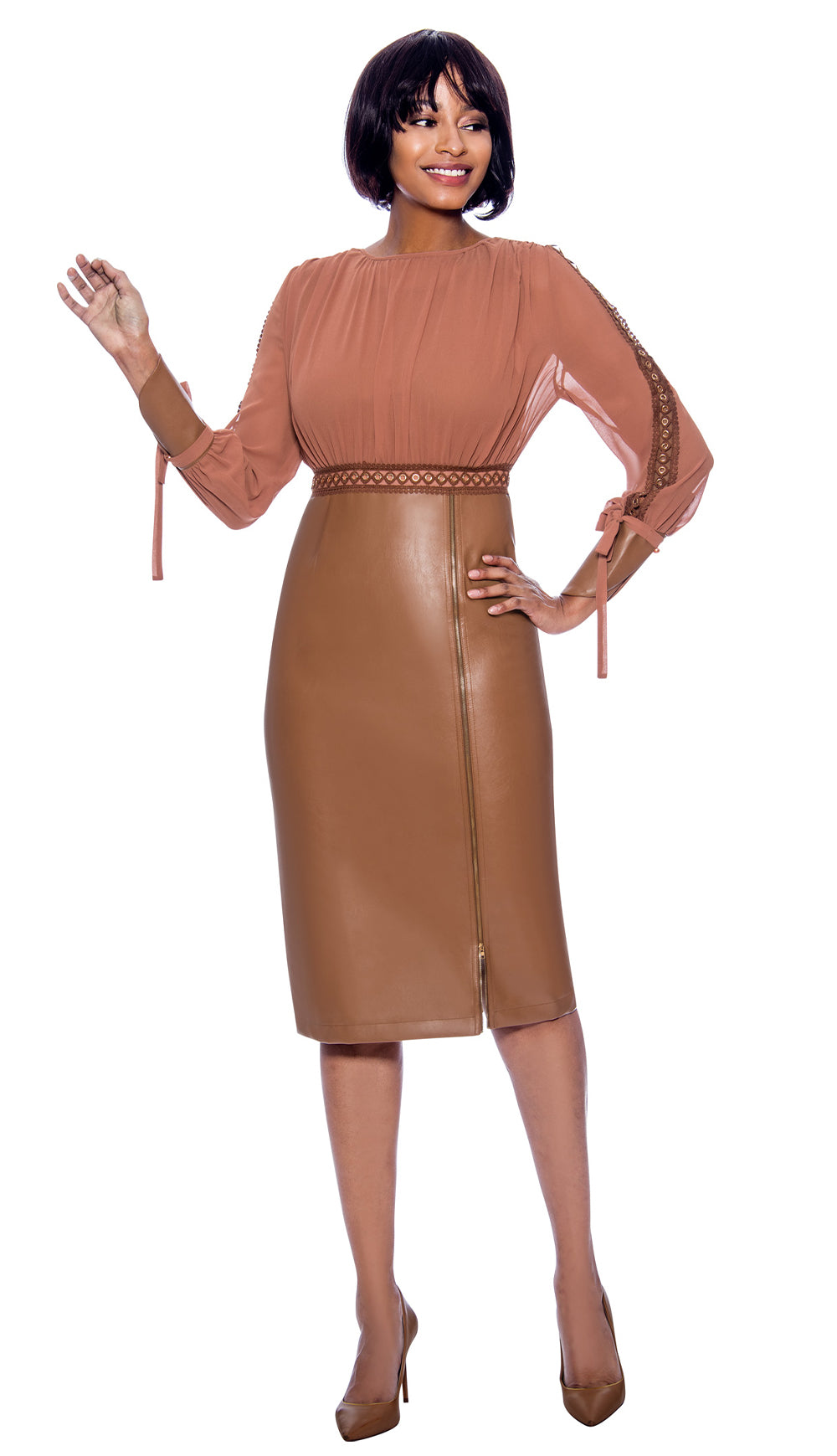 Susanna Dress 3962-Camel - Church Suits For Less