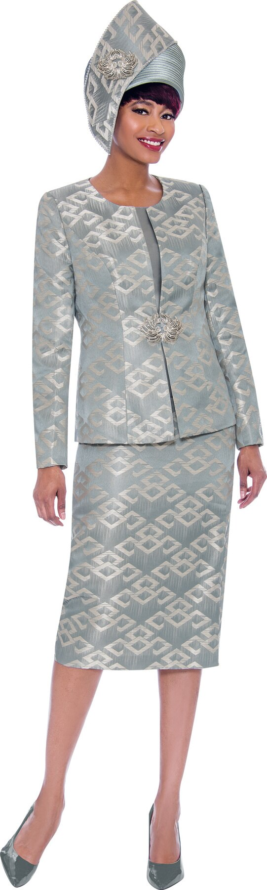 Susanna Suit 3932-Steel - Church Suits For Less
