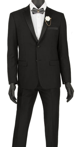 Vinci Men Tuxedo T-US900 Black - Church Suits For Less