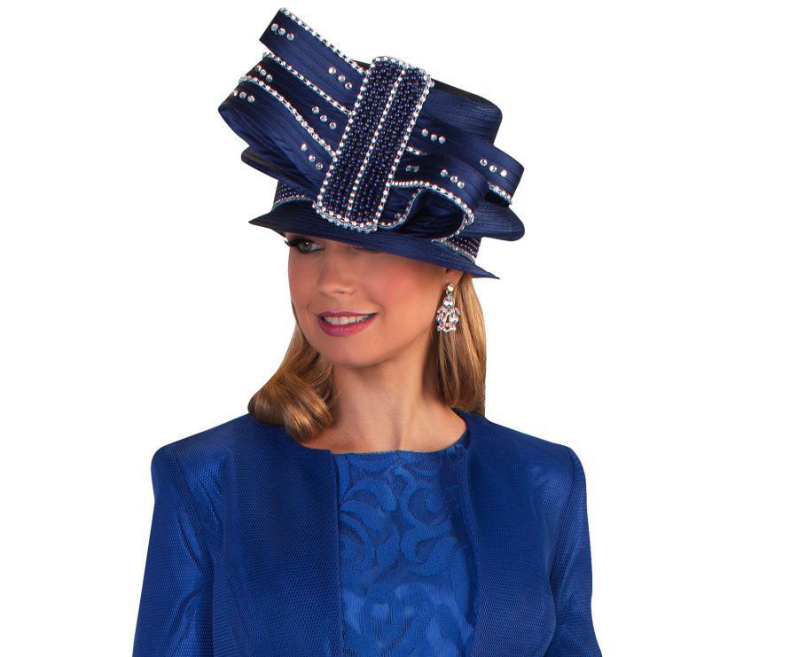 Tally Taylor Hat 4644-Bright Navy - Church Suits For Less
