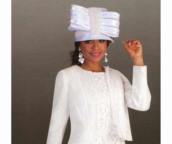 Tally Taylor Hat 4644-White - Church Suits For Less
