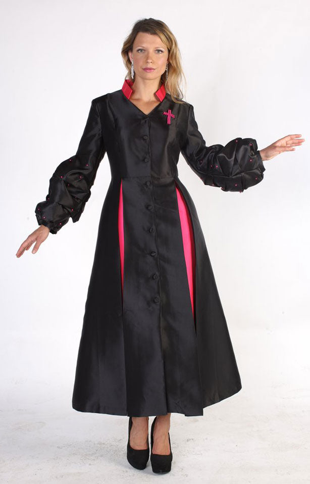 Tally Taylor Church Robe 4730-Black/Fuchsia - Church Suits For Less