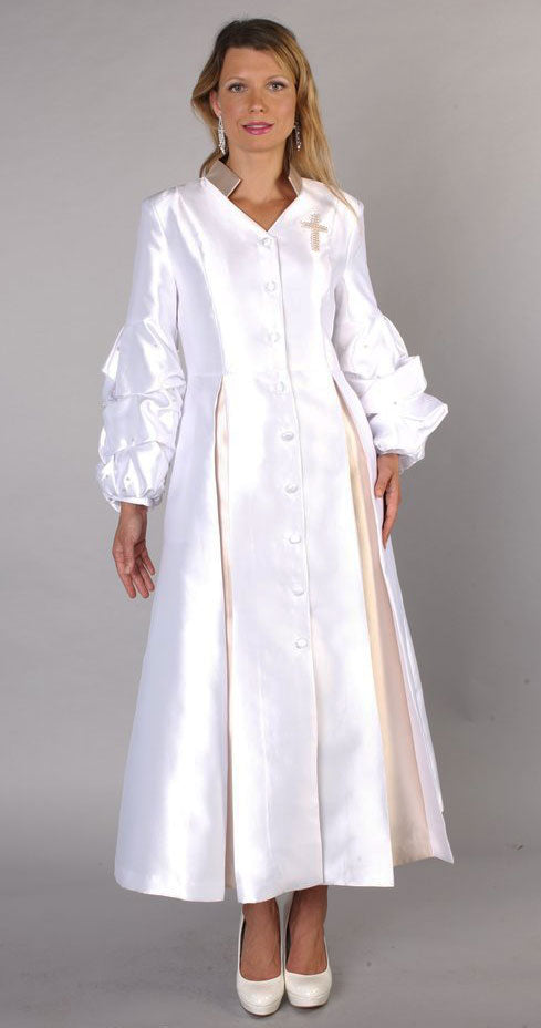 Tally Taylor Church Robe 4730-White/Gold - Church Suits For Less