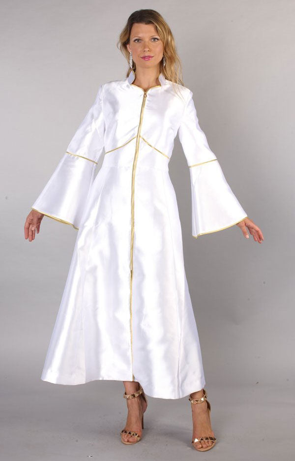 Tally Taylor Church Robe 4731-White/Gold - Church Suits For Less