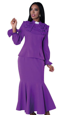 Tally Taylor Church Suit 4601-Purple/White - Church Suits For Less