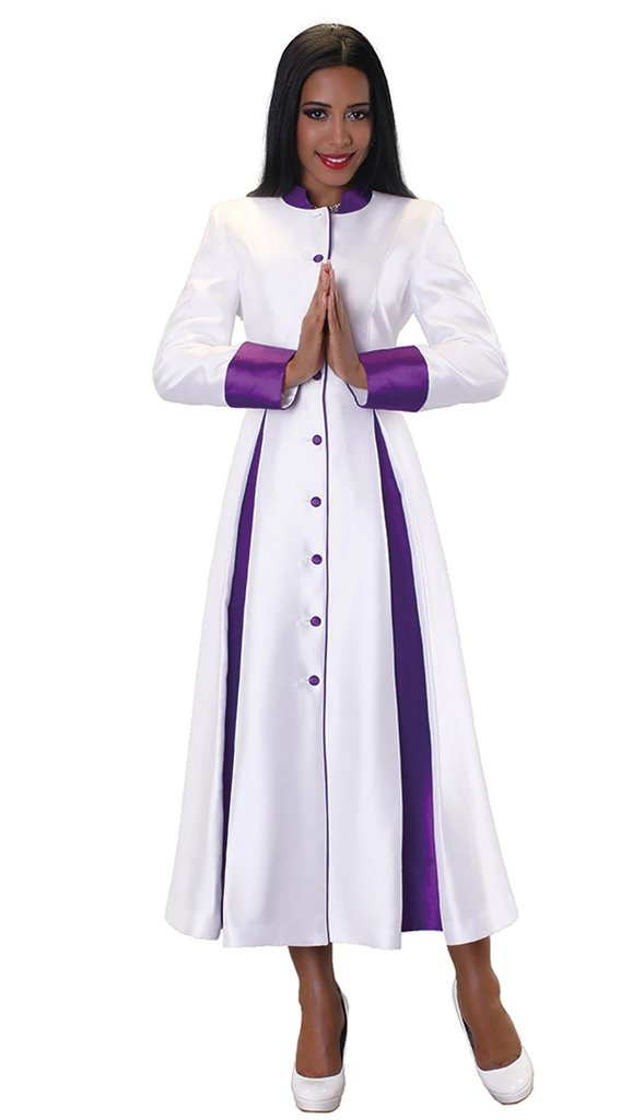Tally Taylor Robe 4544-White/Purple - Church Suits For Less