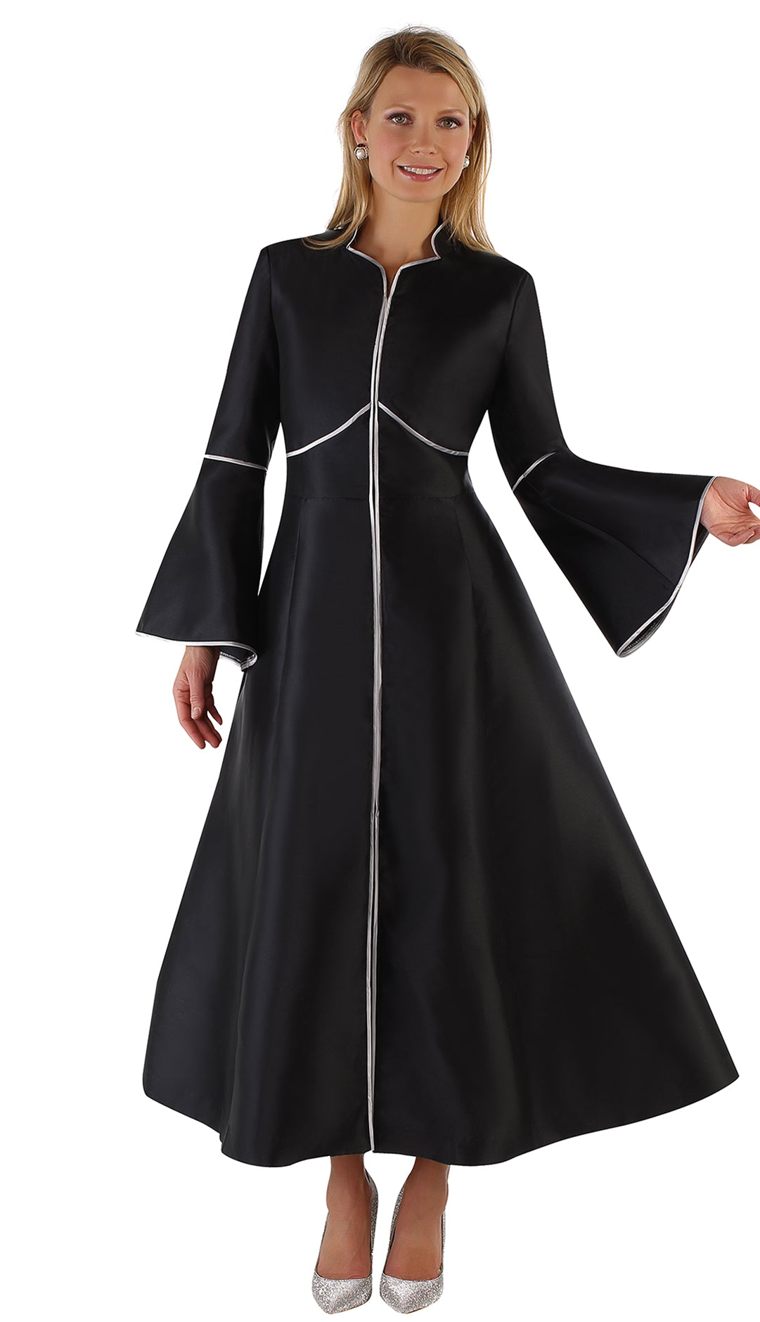 Tally Taylor Church Robe 4731-Black/Silver - Church Suits For Less