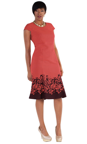 Tally Taylor Dress 9450-Coral/Navy - Church Suits For Less