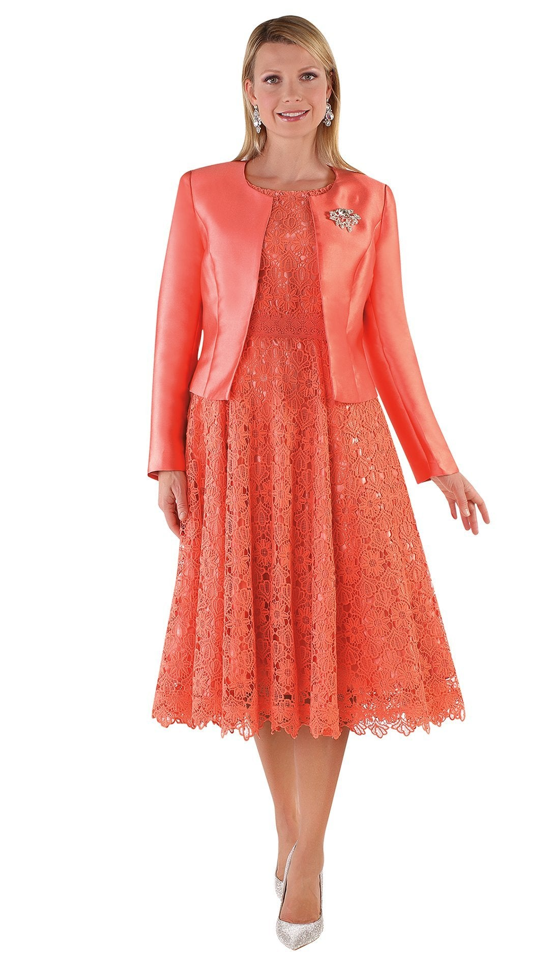 Tally Taylor Dress 4529-Salmon - Church Suits For Less
