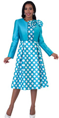 Chancele Dress 4637-Turquoise - Church Suits For Less