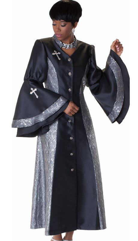 Tally Taylor Minister Robe 4565-Black/Silver - Church Suits For Less