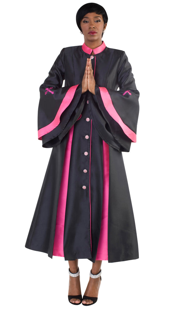Tally Taylor Robe 4615-Black/Fuchsia - Church Suits For Less