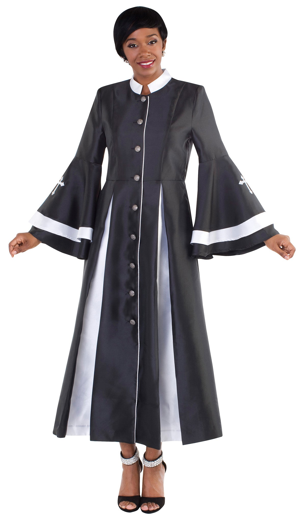 Tally Taylor Robe 4615-Black/White - Church Suits For Less