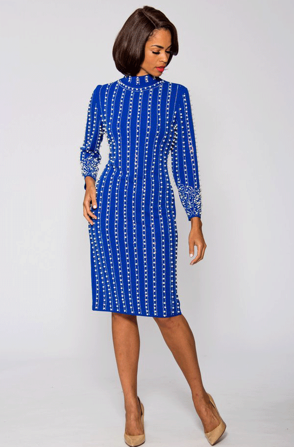 Terramina Dress 3924-Blue - Church Suits For Less