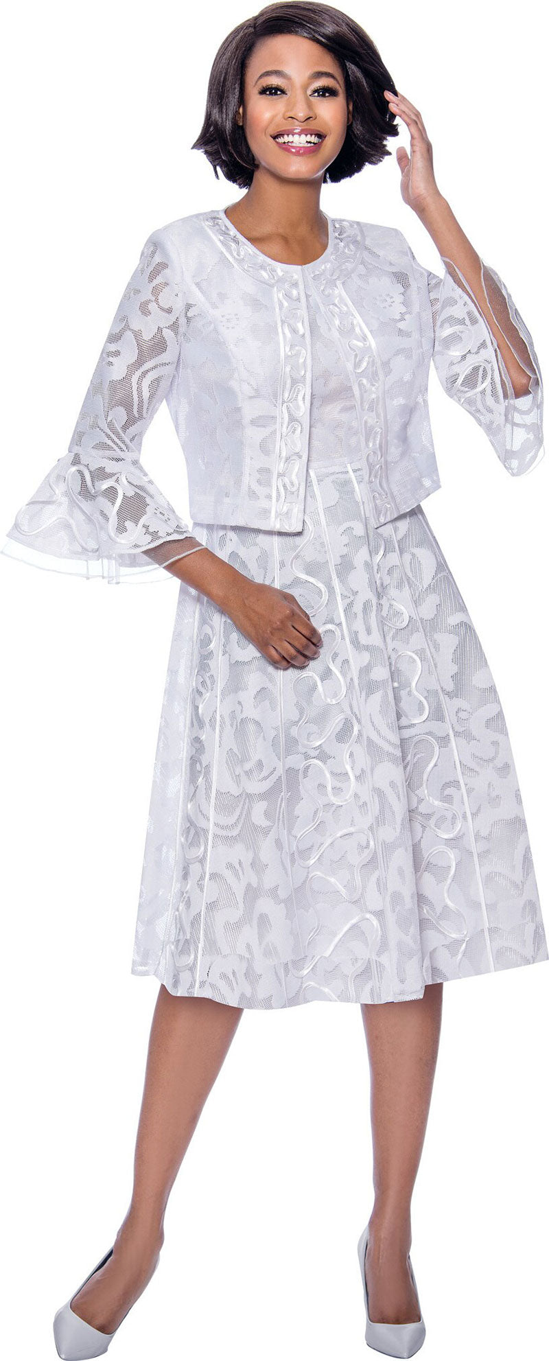 Terramina Dress 7826-White - Church Suits For Less