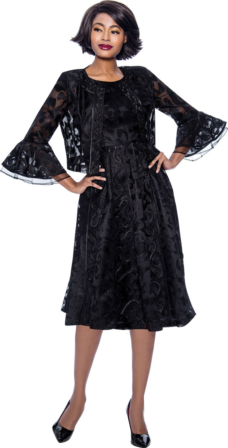Terramina Dress 7826-Black - Church Suits For Less
