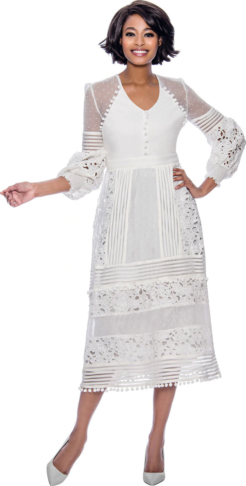 Terramina Dress 7827-White - Church Suits For Less