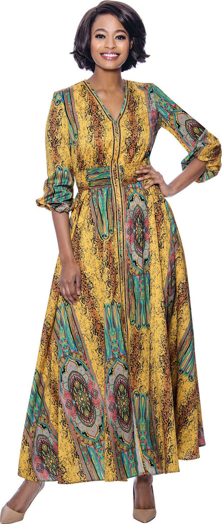 Terramina Dress 7829-Yellow/Multi - Church Suits For Less