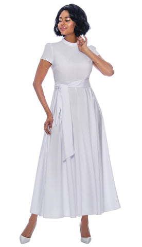 Terramina Dress 7758-White - Church Suits For Less