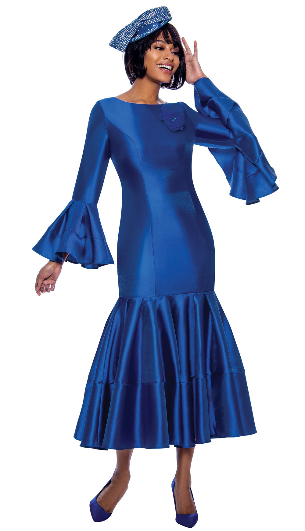 Terramina Dress 7764-Royal - Church Suits For Less