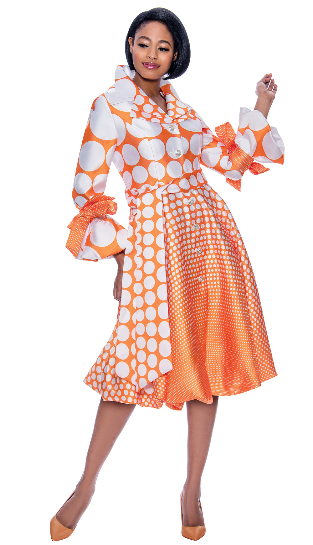 Terramina Dress 7794-Orange/White - Church Suits For Less