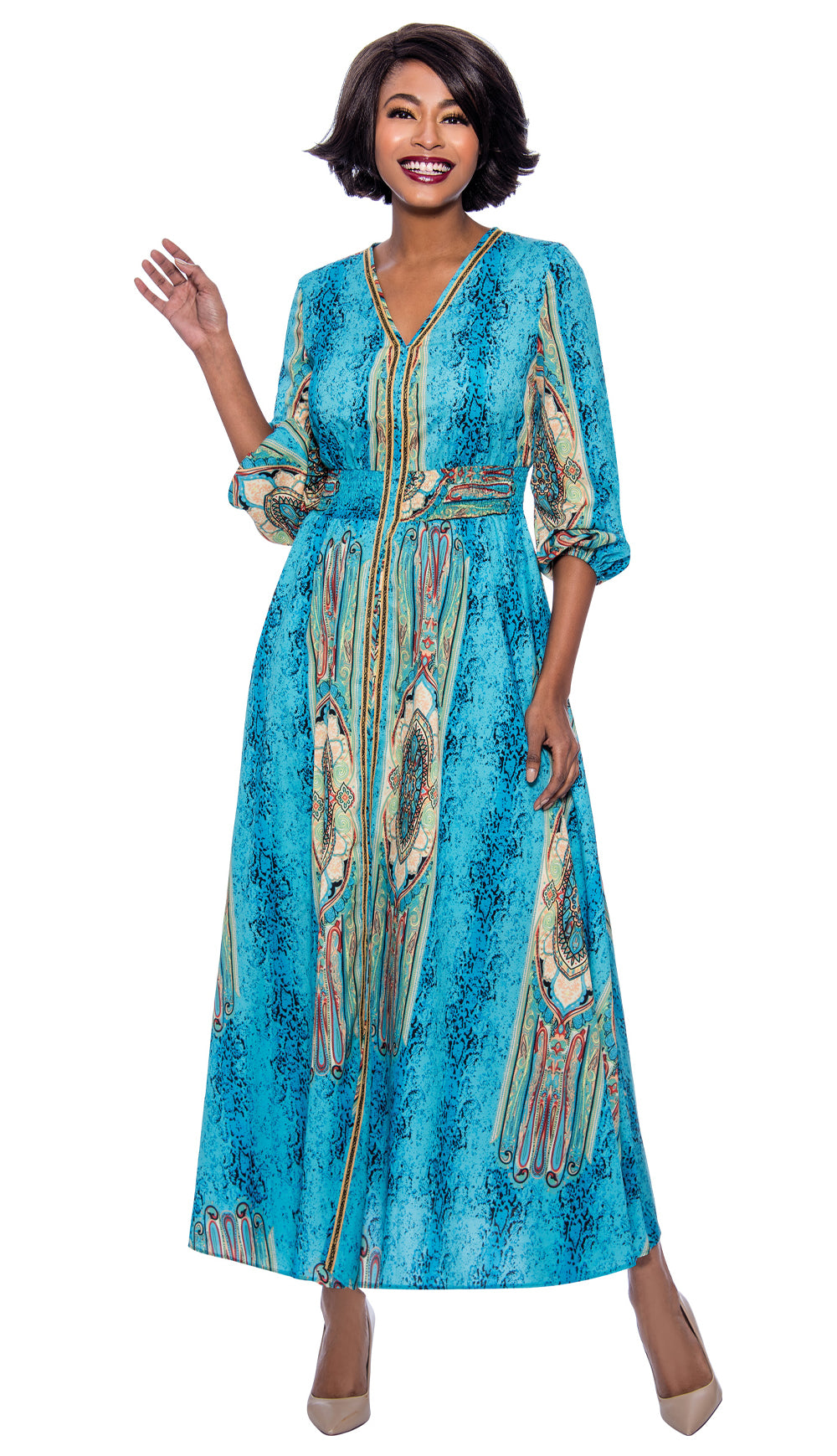 Terramina Dress 7829-Blue - Church Suits For Less