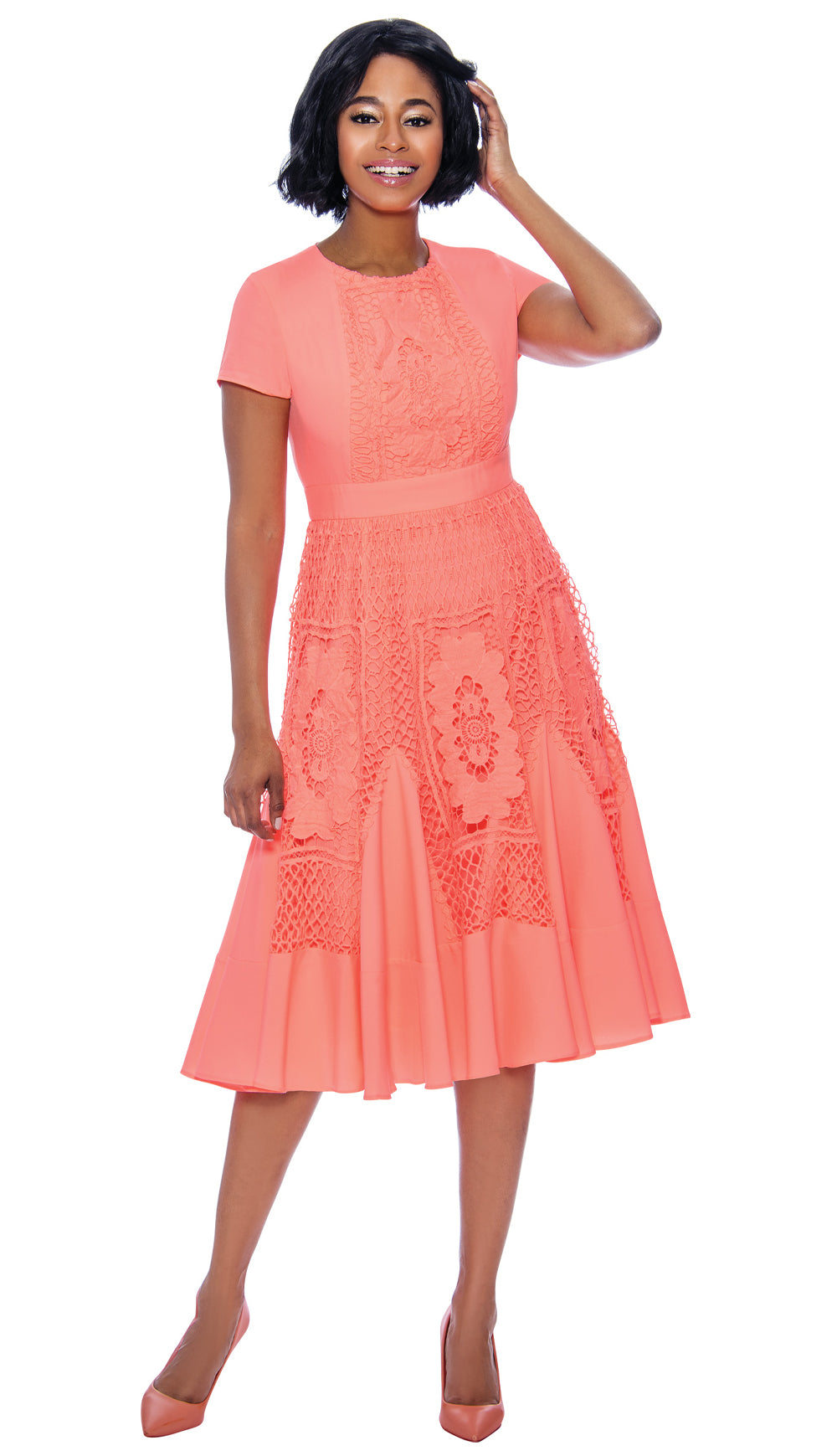 Terramina Dress 7848-Coral - Church Suits For Less