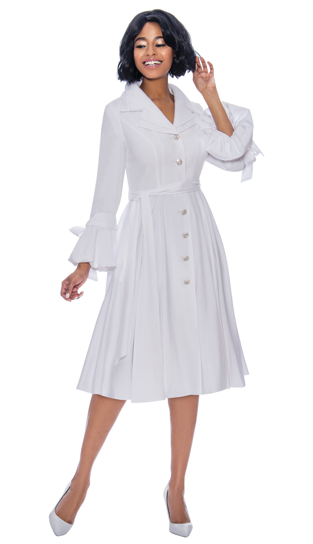 Terramina Dress 7850-White - Church Suits For Less