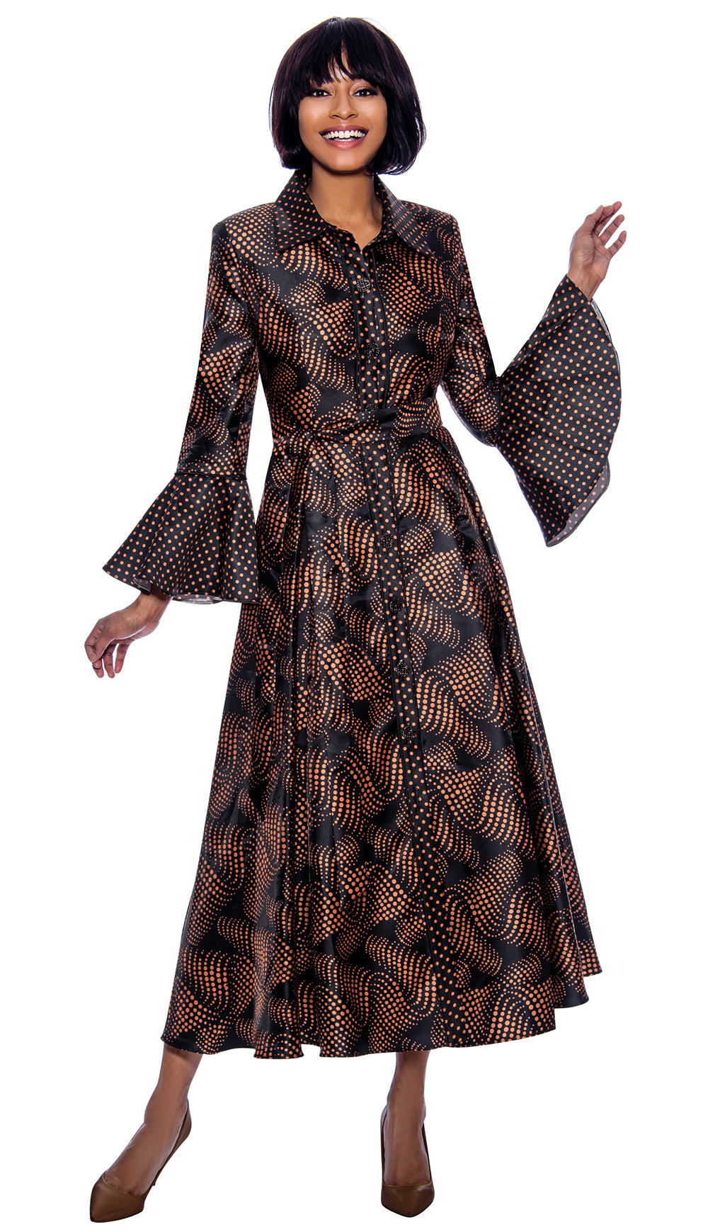 Terramina Dress 7858C-Bronze - Church Suits For Less