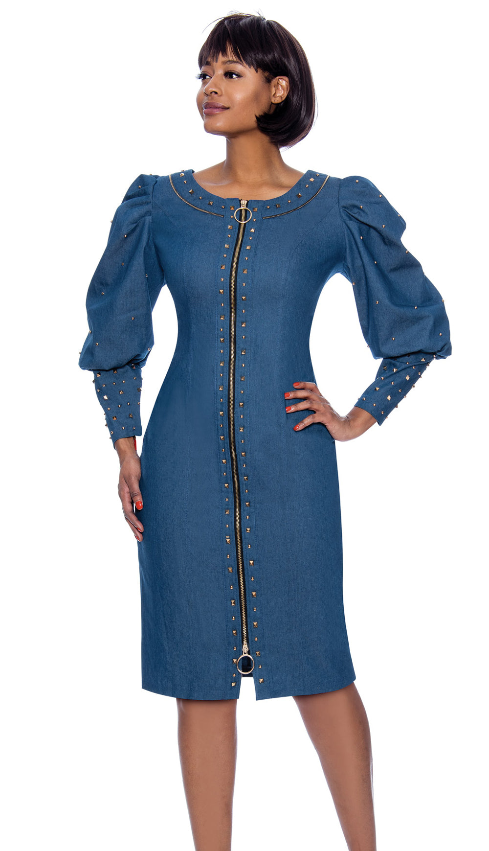 Terramina Denim Dress 7897 - Church Suits For Less