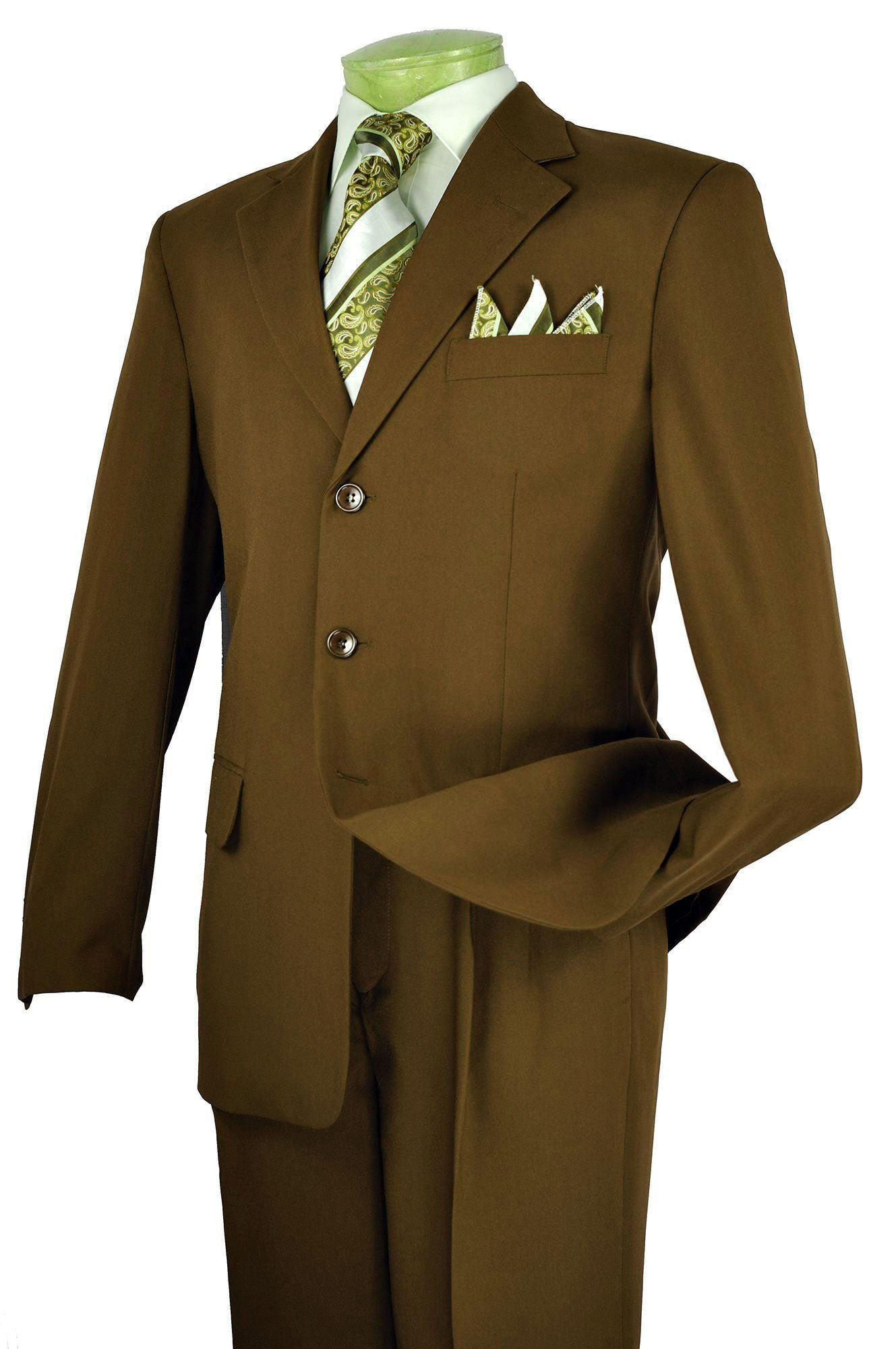 Vinci Men Suit 3PP-Brown - Church Suits For Less