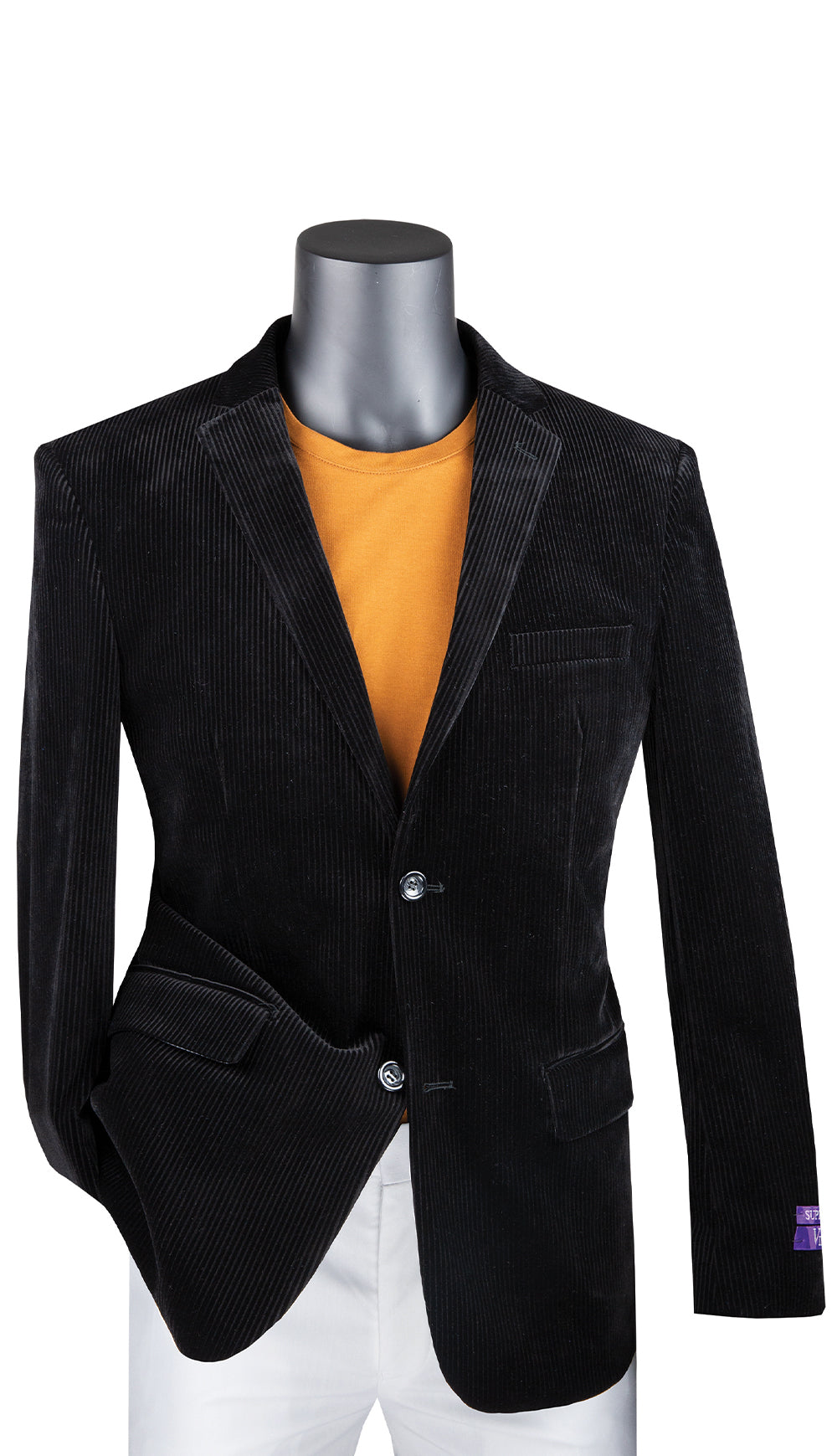 Vinci Sport Coat BCORD-1-Black - Church Suits For Less