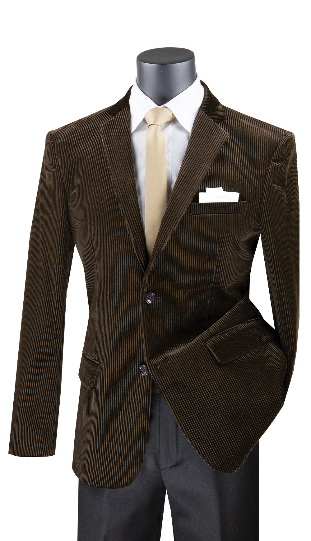 Vinci Sport Coat BCORD-1-Brown - Church Suits For Less
