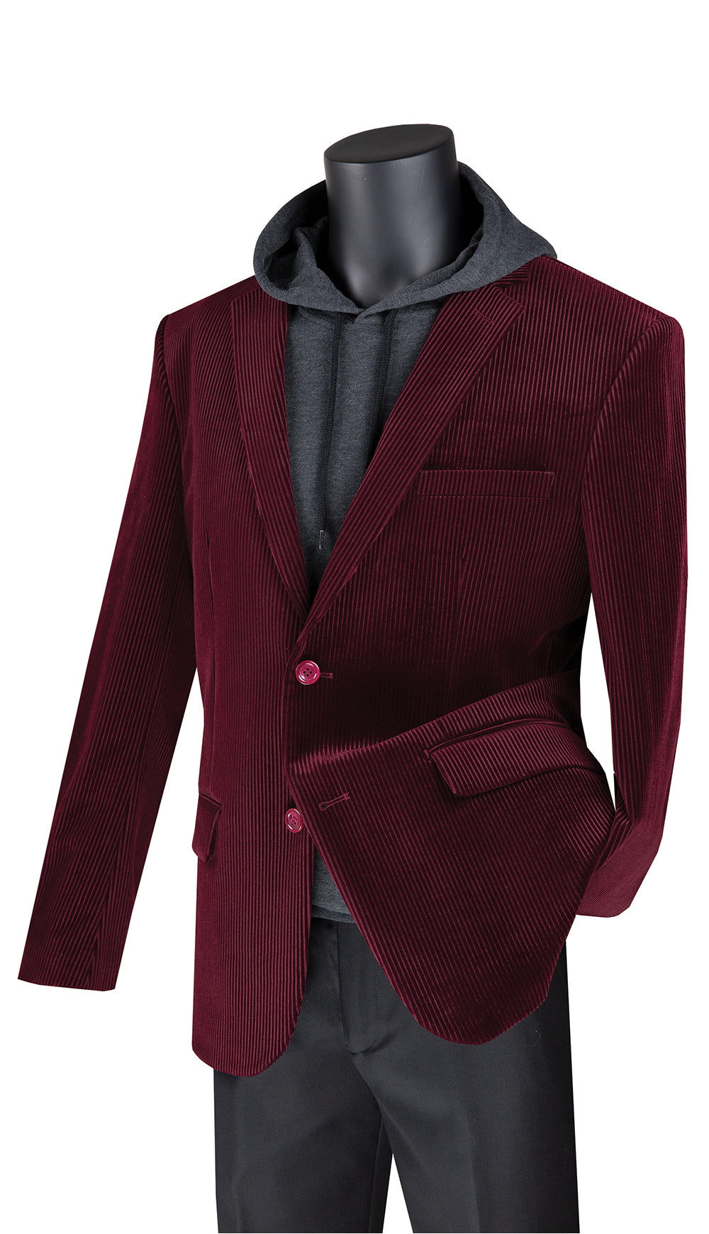 Vinci Sport Coat BCORD-1-Burgundy - Church Suits For Less
