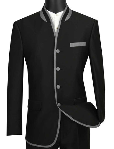 Vinci Men Suit S4HT-1-Black - Church Suits For Less