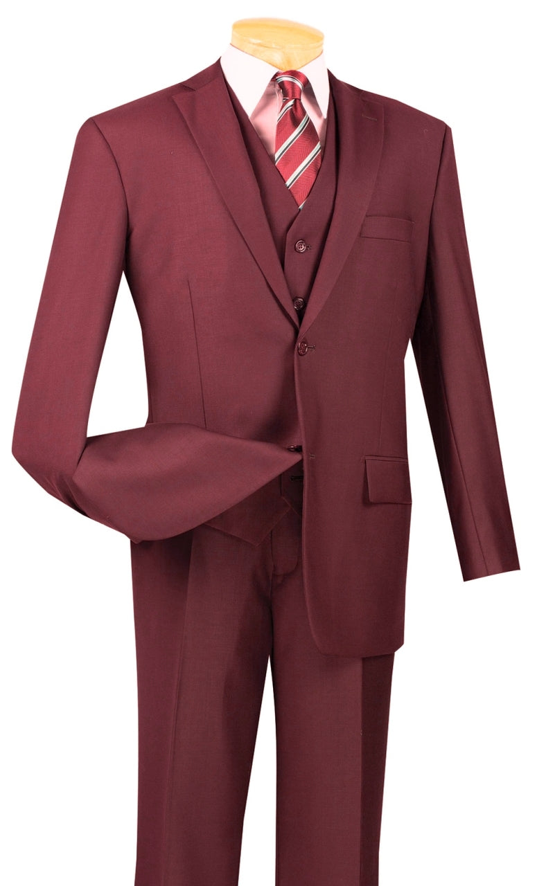 Vinci Suit V2TR-Maroon (Burgundy Tone) - Church Suits For Less