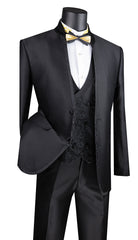 Vinci Suit SV2HT-2-Black - Church Suits For Less