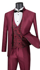 Vinci Suit SV2HT-2-Burgundy - Church Suits For Less