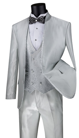 Vinci Suit SV2HT-2-Silver - Church Suits For Less