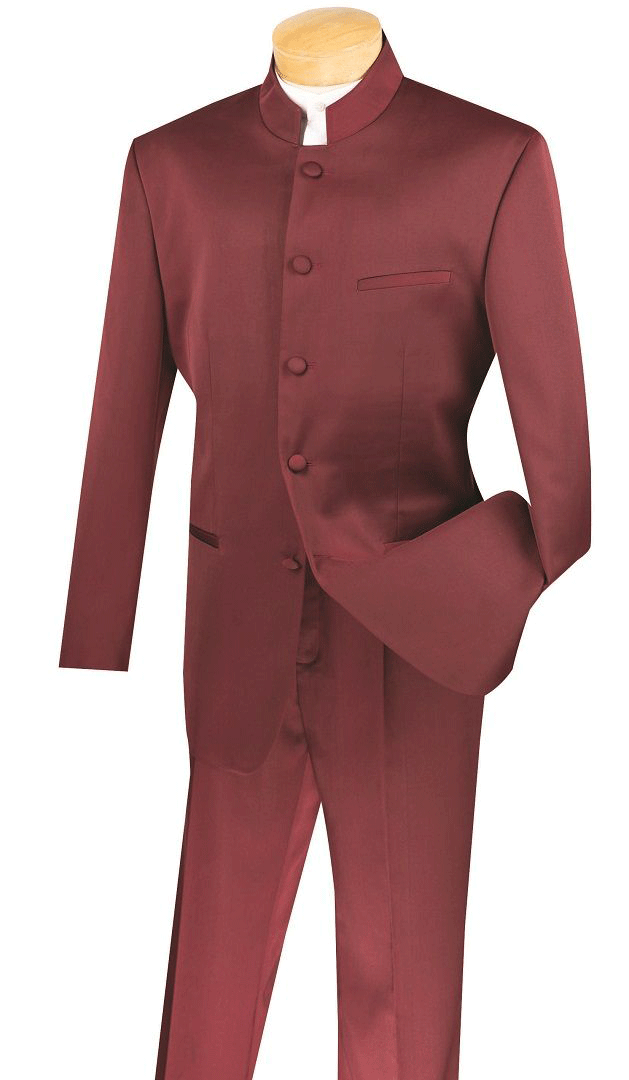 Vinci Men Suit 5HT-Burgundy - Church Suits For Less