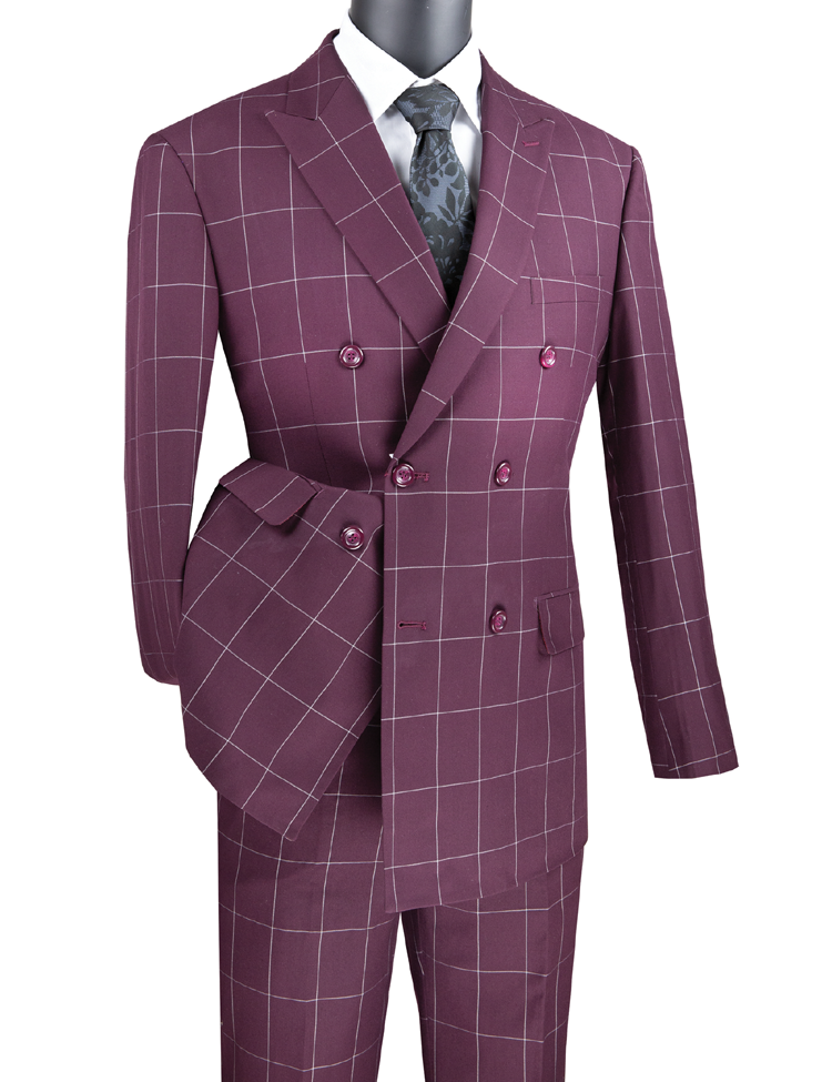 Vinci Men Suit MDW-1-Wine - Church Suits For Less