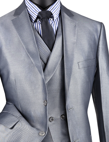 Vinci Men Suit MV2R-1-Gray - Church Suits For Less