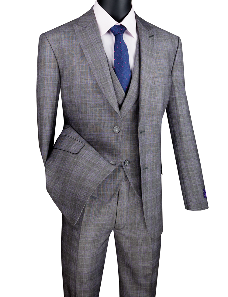 Vinci Men Suit MV2W-1-Gray - Church Suits For Less
