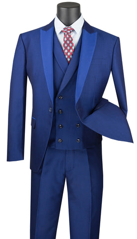 Vinci Men Suit SV2R-6-Blue - Church Suits For Less